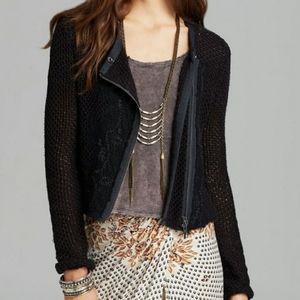 Free People Femme Fatale Knit Moto Jacket M